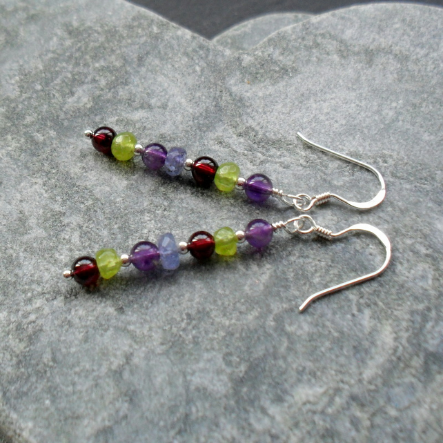 Peridot Garnet Amethyst and Tanzanite Sterling Silver Drop Earrings
