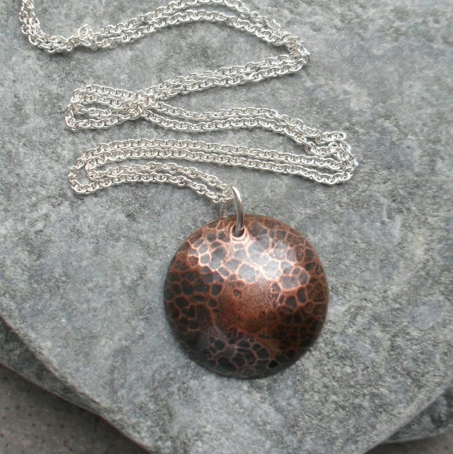 Oxidised  Copper Domed Disc Pendant With Sterling Silver Chain