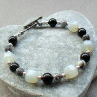 Onyx Agate and Jasper Semi Precious Gemstones Black Tone Bracelet