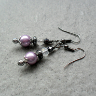 Lilac Shell Pearl and Haematite Black Tone Drop Earrings