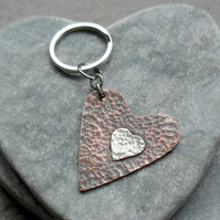 Copper Heart and Sterling Silver Heart Keyring