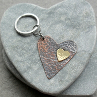 Copper Heart and Brass Heart Keyring