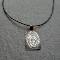 Copper Pendant With Sterling Silver Brown Leather Cord or Silver Chain