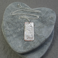 Copper Pendant With Fused Sterling Silver