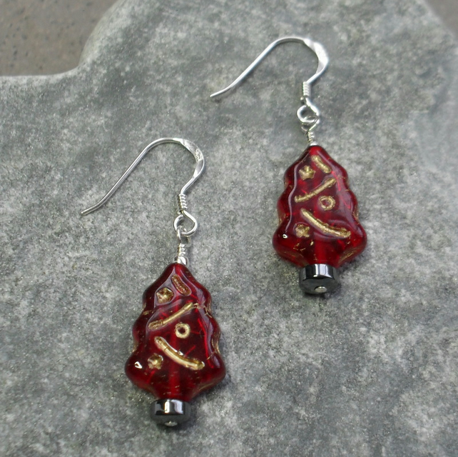 Sterling Silver Christmas Tree Earrings Red With Czech Glass