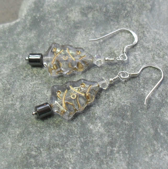 Sterling Silver Christmas Tree Earrings With Czech Glass