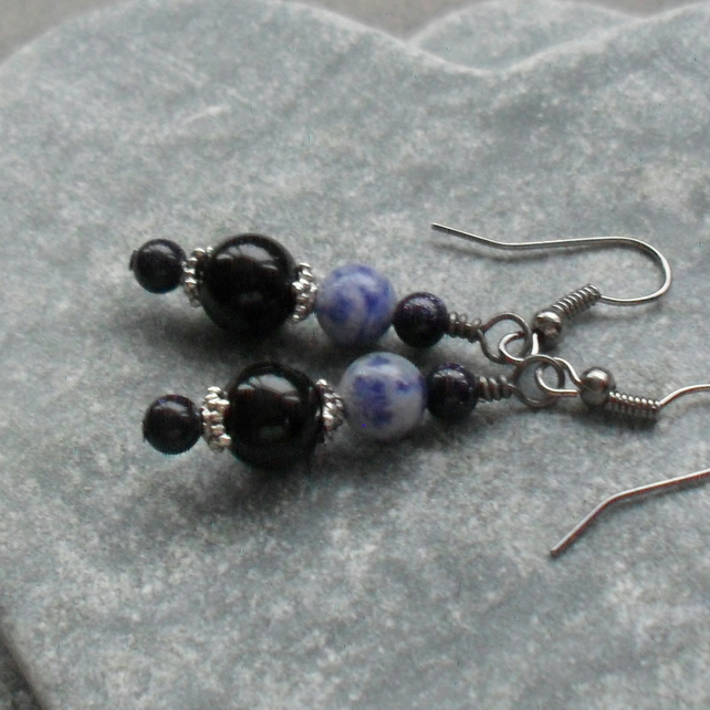 Black Onyx Blue Jasper and Blue goldstone Drop Black Tone Earrings