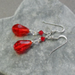 Red and Clear Crystal Sterling Silver Dangle Drop Earrings