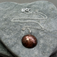 Small Oxidised Copper Domed Disc Pendant With Sterling Silver Chain