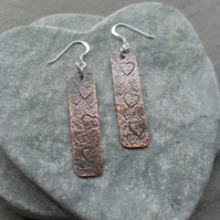 Oxidised Copper Dangle Earrings With Heart Detail Sterling Silver Ear Wires