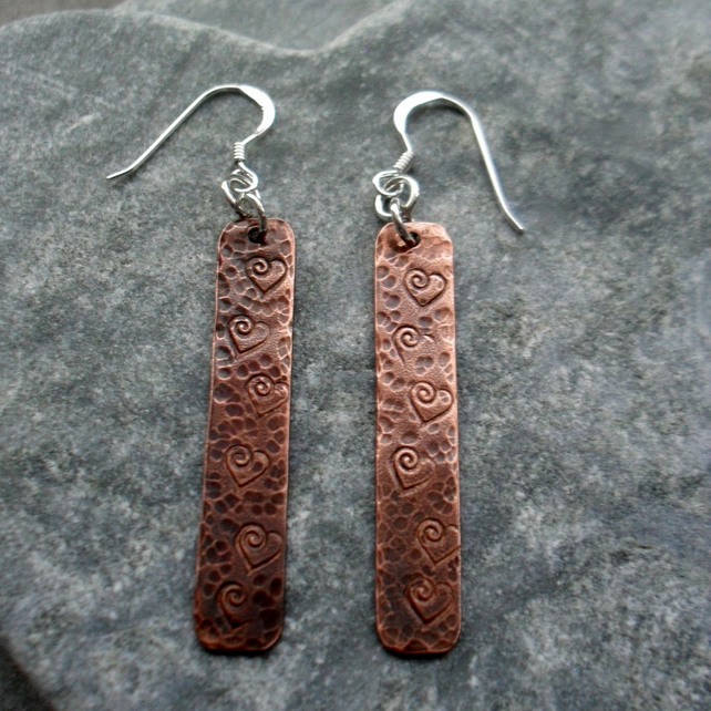 Oxidised Copper Drop Earrings With Heart Detail Sterling Silver Ear Wires