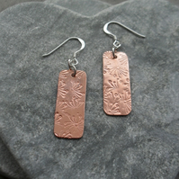Copper and Sterling Silver Dangle Earrings With Stamped Dandelion Detail