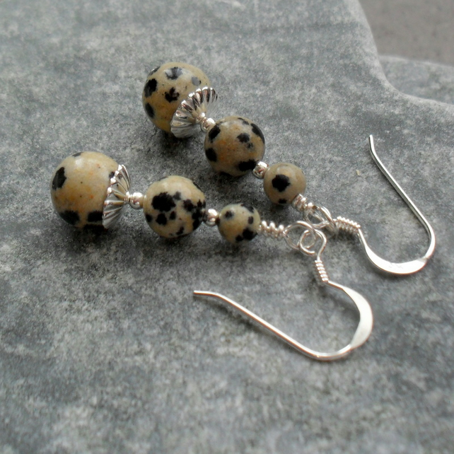 Dalmation Jasper Sterling Silver Drop Earrings