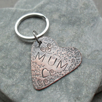 Mum Copper Heart Keyring Mothers Day