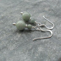 Burmese Jadeite Sterling Silver Earrings