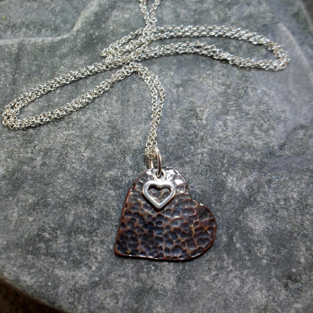 Heart Pendant Oxidised Copper and Sterling Silver