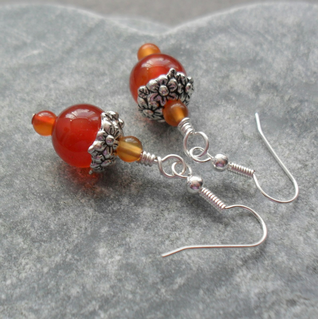 Carnelian Semi Precious Gemstone Earrings