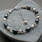 Freshwater Pearl  Spinel and Moonstone Sterling Silver Bracelet