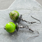 Green Terra Jasper Black Tone Drop Earrings