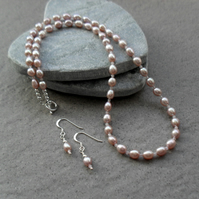 Pearl Necklace and Earring Set With Rose Quartz Sterling Silver