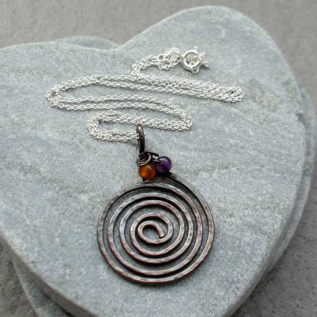 Oxidised spiral Copper Pendant With Carnelian and Amethyst Sterling Silver Chain