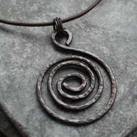 Spiral Oxidised Copper Pendant With Leather Cord and Sterling Silver