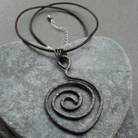 Spiral Oxidised Copper Pendant With Leather Cord and Sterling Silver Vintage