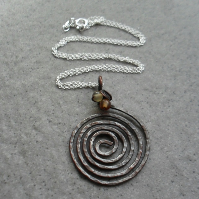 Oxidised spiral Copper Pendant With Carnelian and Sterling Silver Chain