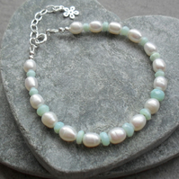 Blue Opal and Freshwater Cultured Pearl Sterling Silver Bracelet