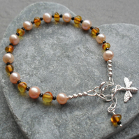 Baltic Amber Black Spinel and Peach Freshwater Pearl Sterling Silver  Bracelet
