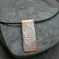 Copper Sterling Silver Bar Drop Pendant Sterling Silver Chain Or Leather Cord