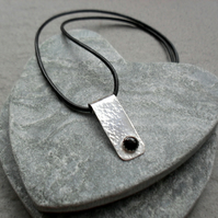 Sterling Silver Bar Drop Pendant With Black Leather Cord