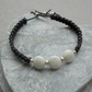 Burmese Jadeite Sterling Silver Macrame Bracelet With Black Cotton Cord