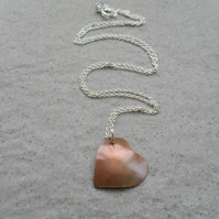 Domed Copper Heart Pendant With Sterling Silver Chain Vintage Style