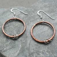 Oxidised Copper and Sterling Silver Hoop Earrings Dangle Earrings