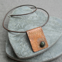Copper Pendant With Bloodstone Semi Precious Gemstone and Leather Cord