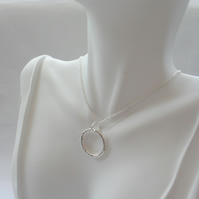 Sterling Silver Circle Pendant With Sterling Silver Chain