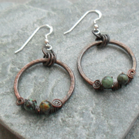 Oxidised Copper Hoops African Turquoise Sterling Silver  Dangle Earrings