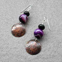 Copper Disc and Purple Agate Drop Earrings