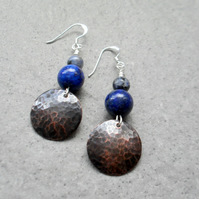 Copper Disc Lapis Lazuli and Sodalite  Drop Earrings