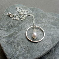 Sterling Silver Circle Pendant With Moonstone and Pearl Sterling Silver Chain
