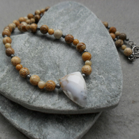 Picture Jasper and Dendritic Agate  Beaded Necklace