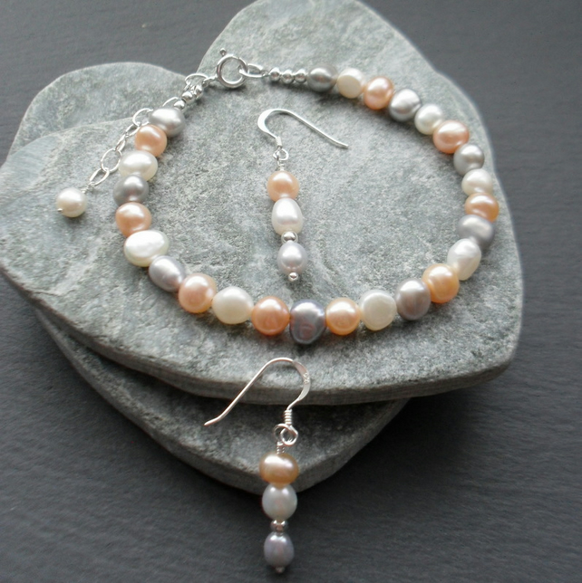 Freshwater Cultured Pearl Sterling Silver Bracelet and Earrings
