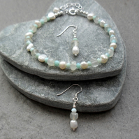Freshwater Pearl Blue Opal and Moonstone Sterling Silver Bracelet and Earrings