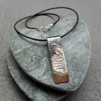 Copper With Sterling Silver Bar Necklace Vintage Style