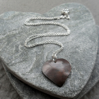 Vintage style Domed Copper Heart Pendant With Sterling Silver Chain