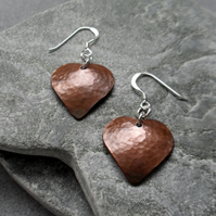 Oxidised Domed Copper Heart Earrings With Sterling Silver Ear Wires