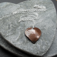 Domed Copper Heart Pendant With Sterling Silver Chain Vintage