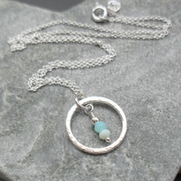 Sterling Silver Circle Pendant With Blue Opal Sterling Silver Chain