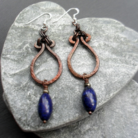Oxidised Copper Lapis Lazuli Pyrite Dangle Earrings Sterling Silver Ear Wires
